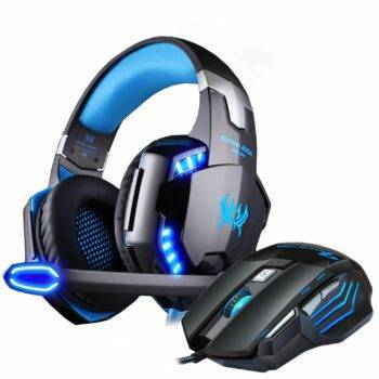 Gaming Headphones Wired Stereo with microphone + Gaming Mouse 5000 DPI Mice Wired USB