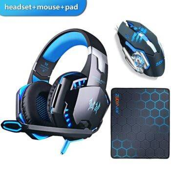 Gaming Headset with Microphone Stereo + Gaming Mouse 4000 DPI Wired USB Optical