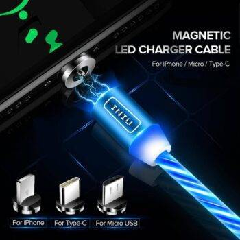 LED Lighting Magnetic USB Phone Cable For Micro Type C Fast Charging Cord For iPhone 11Pro XR 8 Plus