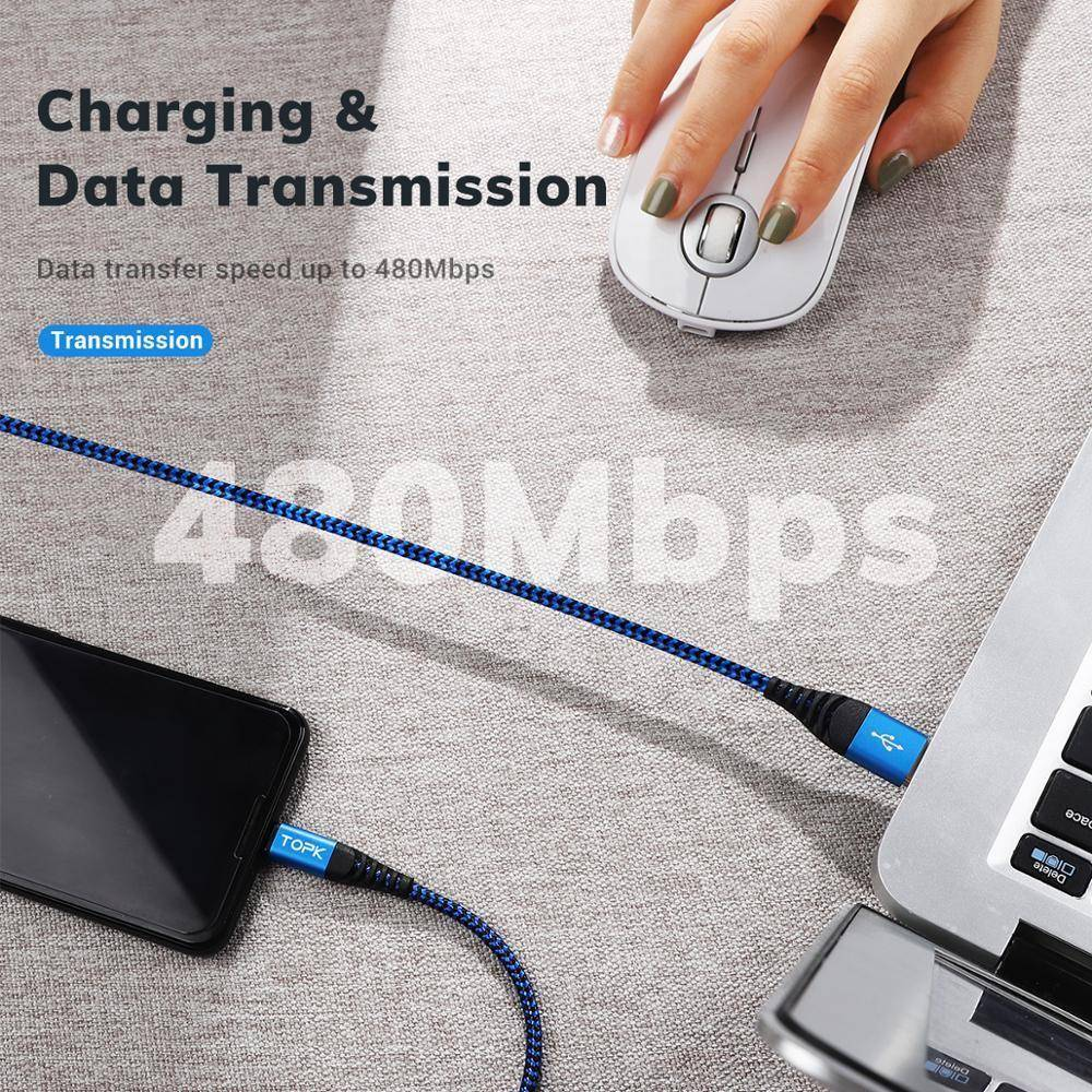 TOPK Micro USB Cable & Type C Cable 3A Fast Charging for Samsung Xiaomi Mobile Phone Data Cable Type-C for Xiaomi Redmi Note 8