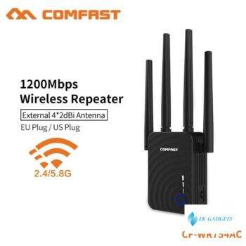 Comfast mini wireless WiFi repeater home use high speed 1200mbps 4*2dbi Antenna WiFi Range Extender Amplifier Booster CF-WR754AC