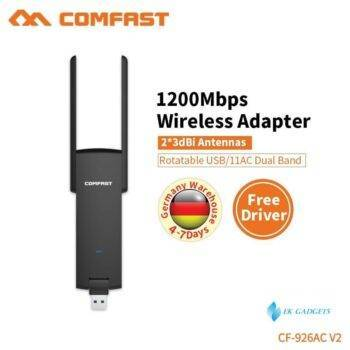 COMFAST 1200mbps wifi adapter plug & play 802.11ac/b/g/n 5.8ghz wi-fi dongle AC Network Card USB antenna Ethernet CF-926AC V2