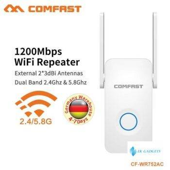 COMFAST 5.8G Dual Band Wireless Extender Signal Amplifier AC Access Point Wifi Extender 1200Mbps AC Wifi Repeater CF-WR752AC V2
