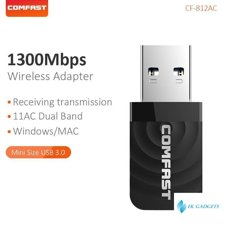 Comfast High Power 1300Mbps Mini Network Card Dual Band 2.4G&5.8G Wifi Transmit Receive Wifi Signal Support for Windows CF-812AC