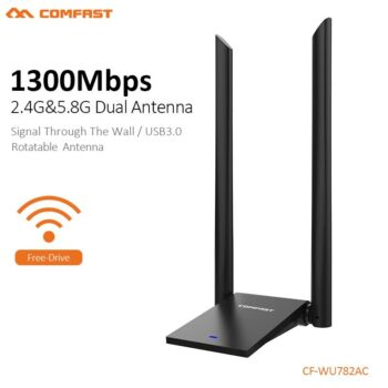 COMFAST 5.8GHz Usb WiFi Adapter 1300Mbps 802.11ac Long Distance WIFI Receiver 2*6dBi Antennas Dual Band CF-WU782AC