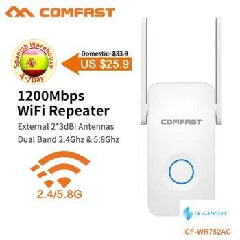 COMFAST 1200Mbps WiFi Repeater Dual Band WiFi Signal Amplifier Wireless Router Long WiFi Range Extender Router CF-WR752AC V2