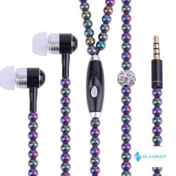 Rhinestone Jewelry Pearl Necklace Earphones With Microphone Earbuds For Iphone Xiaomi Brithday Gift Fone De Ouvido