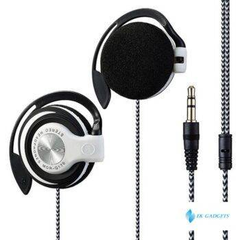 Universal 3.5mm Plug Wired HIFI Stereo Metal Wired Headphones Heavy Bass Headset Over-ear Adjustable Ear hook earphone