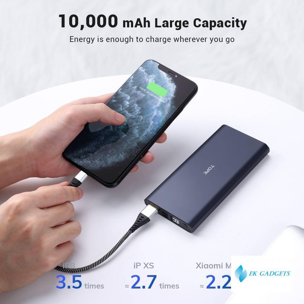 10000mAh Portable Charger LED External Battery Power Bank PD Two-way Fast Charging for iPhone Xiaomi