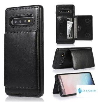 Premium Leather Wallet Case For Samsung Galaxy S8 S9 S10 Plus S10E Note 8 9 10 Pro Double Magnetic Buttons Flip Shockproof Cover