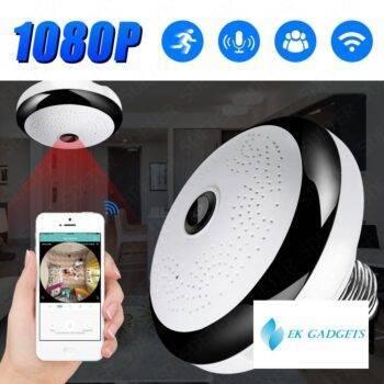 SDETER 1080P Wireless WIFI Camera IP Bulb Lamp CCTV Camera Panoramic FishEye LED Light Security Camera Night Vision Motion Alarm